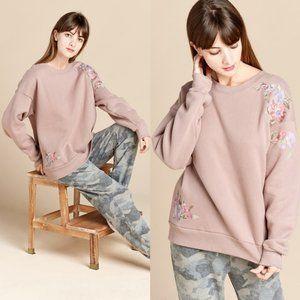 Mauve Floral Embroidery Sleeve Fleece Sweatshirts